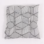 Seat Cushion - White with Geometric Pattern, 40×40 cm
