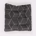 Seat Cushion - Black with Geometric Pattern, 40×40 cm