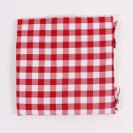 Seat Cushion - Red-White Checkered, 42×42 cm